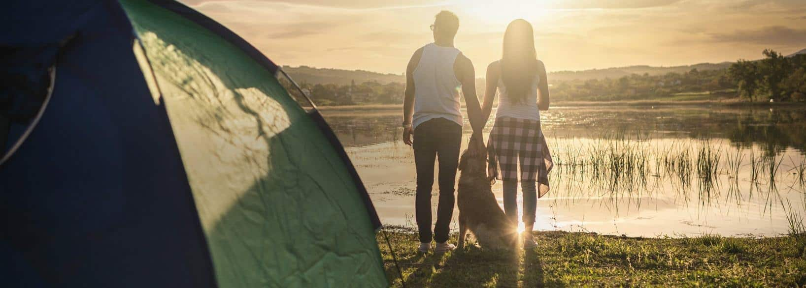 summer banner image for our homepage - couple and their dog with a tent watching the sunrise