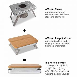 nCamp 2pc Stove and Prep Surface Bundle brochure with features and benefits